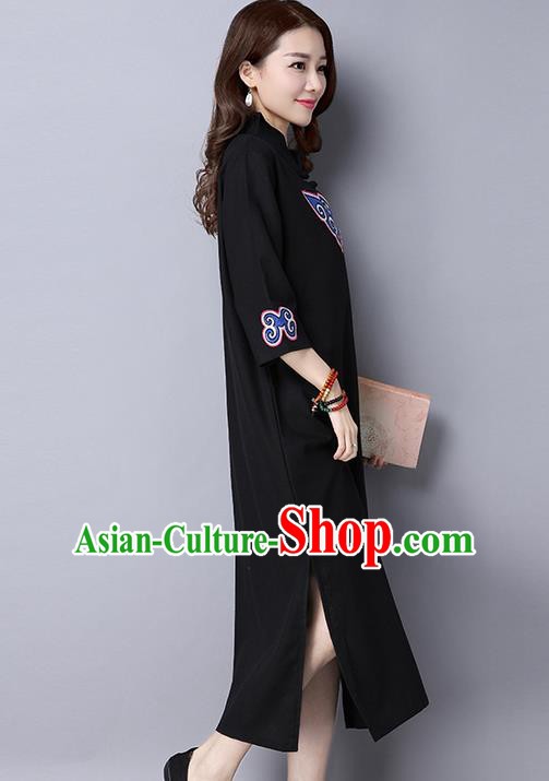 Traditional Ancient Chinese National Costume, Elegant Hanfu Mandarin Qipao Patch Embroidery Black Dress, China Tang Suit Chirpaur Republic of China Cheongsam Upper Outer Garment Elegant Dress Clothing for Women