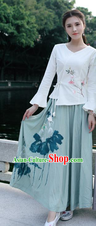 Traditional Ancient Chinese National Costume Pleated Skirt, Elegant Hanfu Linen Printing Long Green Dress, China Tang Dynasty Bust Skirt for Women