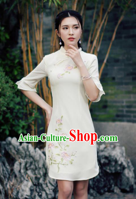 Traditional Ancient Chinese National Costume, Elegant Hanfu Mandarin Qipao Mandarin Sleeve Apricot Dress, China Tang Suit Chirpaur Republic of China Cheongsam Upper Outer Garment Elegant Dress Clothing for Women