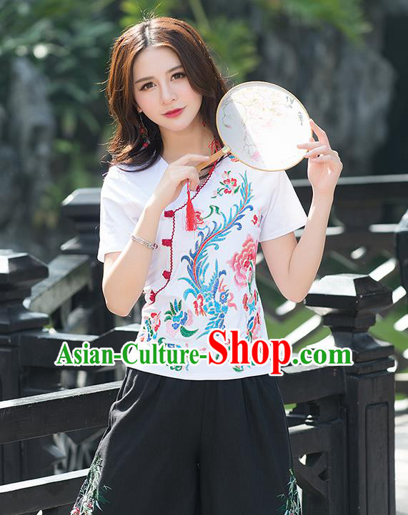 Traditional Chinese National Costume, Elegant Hanfu Embroidery Phoenix Flowers White T-Shirt, China Tang Suit Republic of China Plated Buttons Blouse Cheongsam Upper Outer Garment Qipao Shirts Clothing for Women
