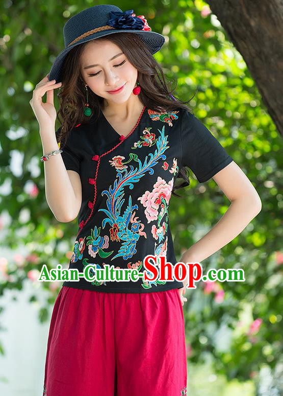 Traditional Chinese National Costume, Elegant Hanfu Embroidery Phoenix Flowers Black T-Shirt, China Tang Suit Republic of China Plated Buttons Blouse Cheongsam Upper Outer Garment Qipao Shirts Clothing for Women