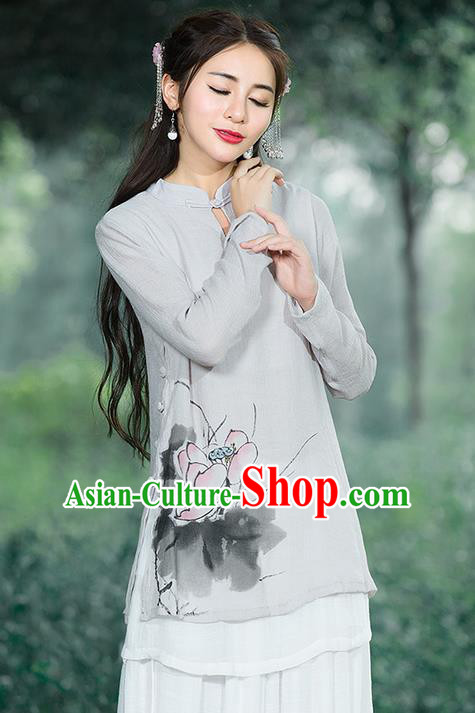 Traditional Chinese National Costume, Elegant Hanfu Ink Painting Lotus Flowers Stand Collar Grey Shirt, China Tang Suit Republic of China Plated Buttons Blouse Cheongsam Upper Outer Garment Qipao Shirts Clothing for Women