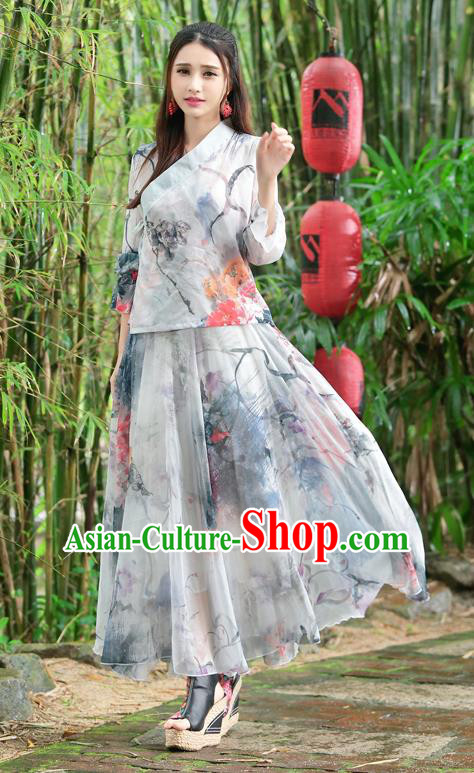 Traditional Ancient Chinese National Pleated Skirt Costume, Elegant Hanfu Silk Printing Big Swing Long Dress, China Tang Dynasty Bust Skirt for Women