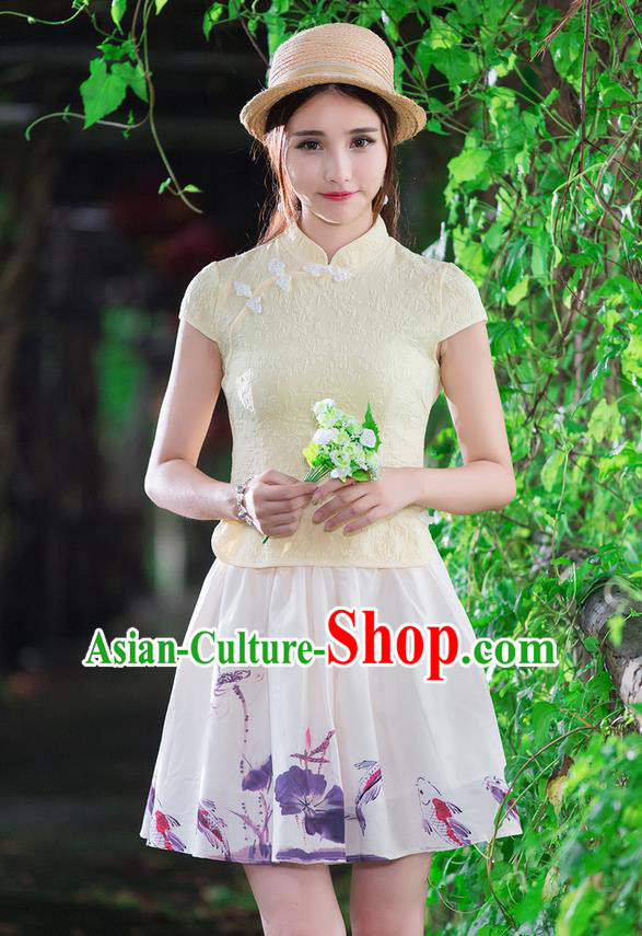 Traditional Chinese National Costume, Elegant Hanfu Slant Opening Light Yellow Jacquard Shirt, China Tang Suit Republic of China Stand Collar Blouse Cheongsam Upper Outer Garment Qipao Shirts Clothing for Women