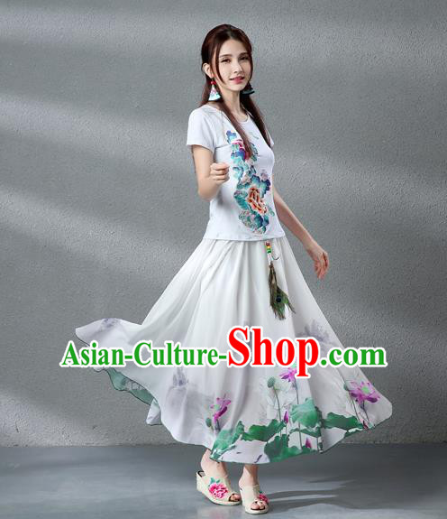 Traditional Ancient Chinese National Pleated Skirt Costume, Elegant Hanfu Chiffon Peacock Feathers Painting Lotus White Dress, China Tang Dynasty Big Swing Bust Skirt for Women