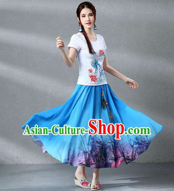 Traditional Ancient Chinese National Pleated Skirt Costume, Elegant Hanfu Chiffon Peacock Feathers Painting Blue Dress, China Tang Dynasty Big Swing Bust Skirt for Women