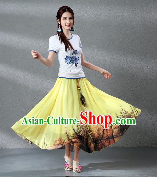 Traditional Ancient Chinese National Pleated Skirt Costume, Elegant Hanfu Chiffon Peacock Feathers Painting Yellow Dress, China Tang Dynasty Big Swing Bust Skirt for Women