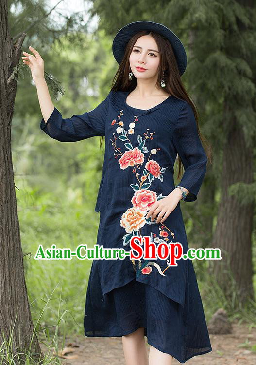 Traditional Ancient Chinese National Costume, Elegant Hanfu Embroidery Qipao Linen Navy Dress, China Tang Suit Chirpaur Republic of China Cheongsam Upper Outer Garment Elegant Dress Clothing for Women