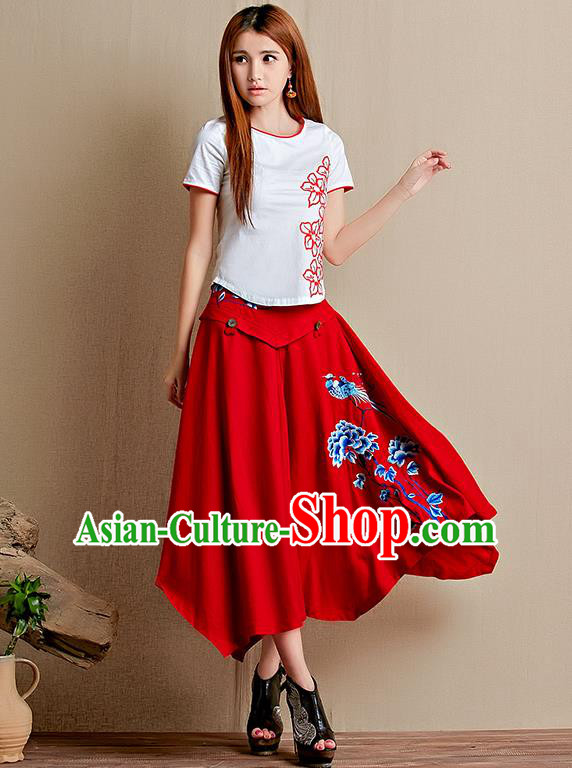 Traditional Ancient Chinese National Pleated Skirt Costume, Elegant Hanfu Linen Embroidery Long Red Dress, China Tang Suit Big Swing Bust Skirt for Women