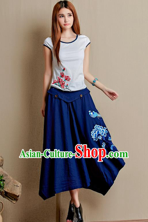 Traditional Ancient Chinese National Pleated Skirt Costume, Elegant Hanfu Linen Embroidery Long Blue Dress, China Tang Suit Big Swing Bust Skirt for Women