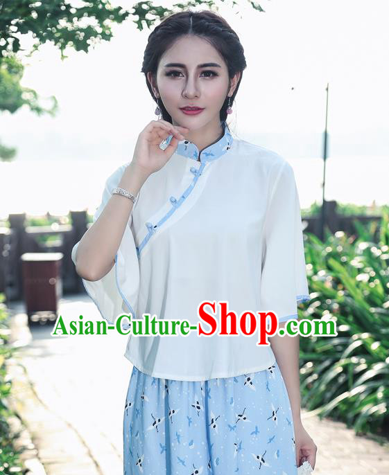 Traditional Chinese National Costume, Elegant Hanfu Slant Opening White T-Shirt, China Tang Suit Republic of China Plated Buttons Blouse Cheongsam Upper Outer Garment Qipao Shirts Clothing for Women