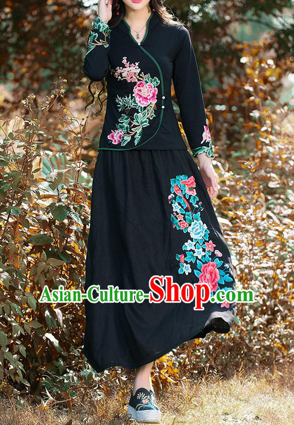 Traditional Ancient Chinese National Pleated Skirt Costume, Elegant Hanfu Linen Embroidery Peony Phoenix Long Black Dress, China Tang Suit Bust Skirt for Women