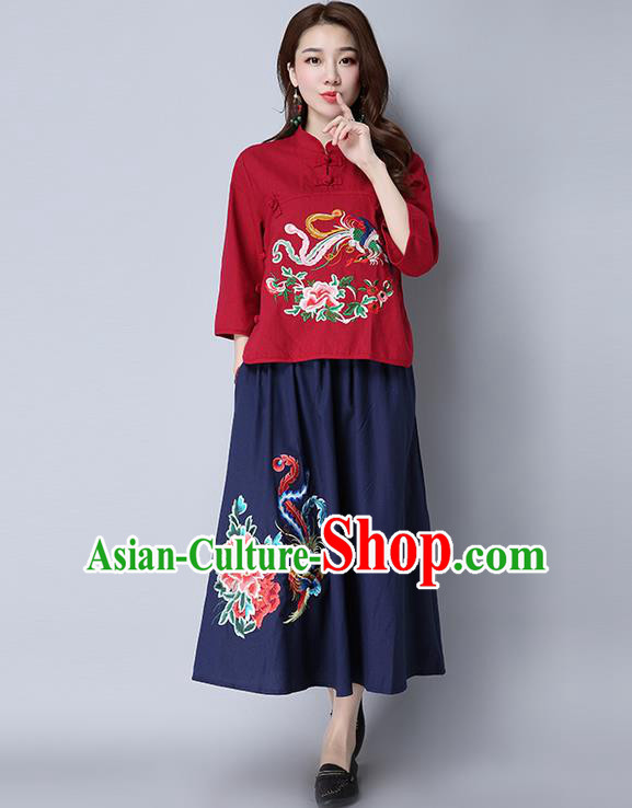 Traditional Ancient Chinese National Pleated Skirt Costume, Elegant Hanfu Linen Embroidery Peony Phoenix Long Navy Dress, China Tang Suit Bust Skirt for Women