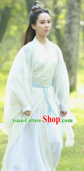 Traditional Ancient Chinese Elegant Female Swordsman Costume, Chinese Han Dynasty Imperial Princess Fairy Dress, Cosplay Chinese Television Drama Jade Dynasty Qing Yun Faction Peri Hanfu Trailing Clothing for Women