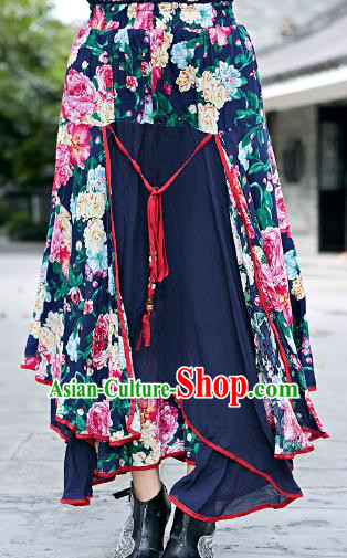 Traditional Ancient Chinese National Pleated Skirt Costume, Elegant Hanfu Big Swing Long Navy Dress, China National Minority Bust Skirt for Women