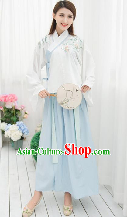 Traditional Ancient Chinese Costume, Elegant Hanfu Clothing Embroidered Slant Opening Blouse and Dress, China Ming Dynasty Princess Elegant Sleeve Placket Blouse and Skirt Complete Set for Women