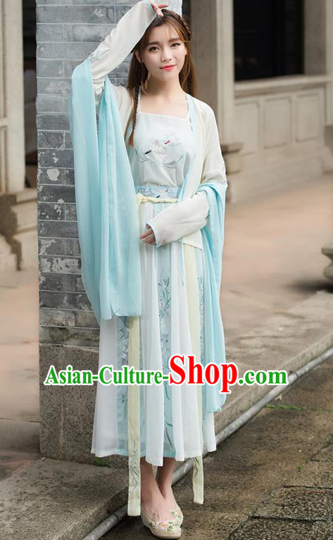 Traditional Ancient Chinese Costume, Elegant Hanfu Clothing Embroidered Cardigan Camisole Wearing Silks Blouse and Dress, China Tang Dynasty Palace Lady Elegant Blouse and Skirt Complete Set for Women