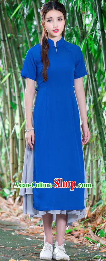 Traditional Ancient Chinese National Costume, Elegant Hanfu Mandarin Qipao Stand Collar Blue Dress, China Tang Suit Ao Dai Chirpaur Republic of China Cheongsam Upper Outer Garment Elegant Dress Clothing for Women