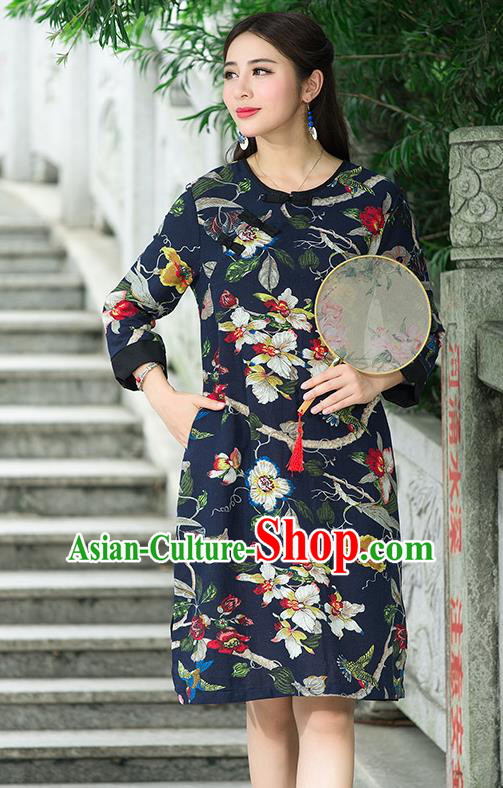 Traditional Ancient Chinese National Costume, Elegant Hanfu Mandarin Qipao Linen Painting Black Dress, China Tang Suit Chirpaur Republic of China Stand Collar Cheongsam Upper Outer Garment Elegant Dress Clothing for Women