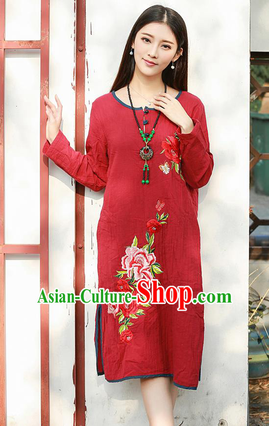 Traditional Ancient Chinese National Costume, Elegant Hanfu Linen Embroidery Red Dress, China Tang Suit Chirpaur Republic of China Cheongsam Upper Outer Garment Elegant Dress Clothing for Women
