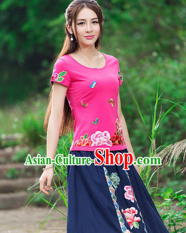 Traditional Chinese National Costume, Elegant Hanfu Embroidery Flowers Butterfly Pink T-Shirt, China Tang Suit Republic of China Blouse Cheongsam Upper Outer Garment Qipao Shirts Clothing for Women