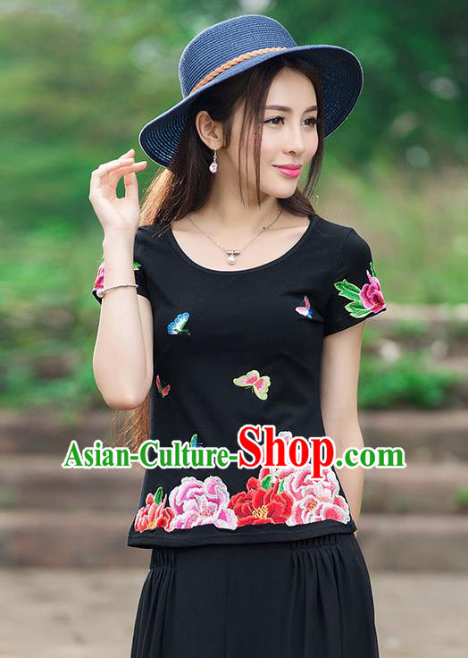 Traditional Chinese National Costume, Elegant Hanfu Embroidery Flowers Butterfly Black T-Shirt, China Tang Suit Republic of China Blouse Cheongsam Upper Outer Garment Qipao Shirts Clothing for Women