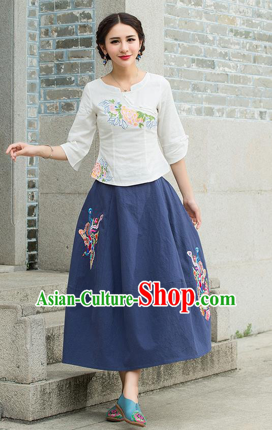 Traditional Ancient Chinese National Pleated Skirt Costume, Elegant Hanfu Embroidered Phoenix Long Blue Linen Dress, China Tang Dynasty Bust Skirt for Women
