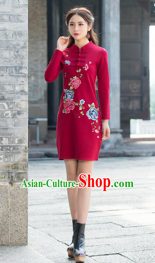 Traditional Ancient Chinese National Costume, Elegant Hanfu Mandarin Qipao Linen Embroidery Red Dress, China Tang Suit Plated Buttons Chirpaur Republic of China Cheongsam Upper Outer Garment Elegant Dress Clothing for Women