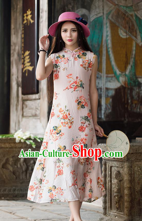 Traditional Ancient Chinese National Costume, Elegant Hanfu Mandarin Qipao Painting Stand Collar Red Dress, China Tang Suit Plated Button Chirpaur Republic of China Cheongsam Upper Outer Garment Elegant Dress Clothing for Women