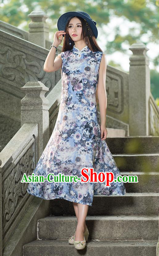 Traditional Ancient Chinese National Costume, Elegant Hanfu Mandarin Qipao Painting Stand Collar Blue Dress, China Tang Suit Plated Button Chirpaur Republic of China Cheongsam Upper Outer Garment Elegant Dress Clothing for Women