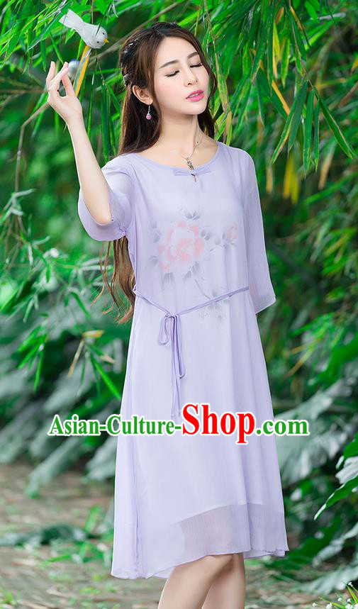 Traditional Ancient Chinese National Costume, Elegant Hanfu Mandarin Qipao Hand Painting Purple Dress, China Tang Suit National Minority Dance Chirpaur Republic of China Cheongsam Upper Outer Garment Elegant Dress Clothing for Women
