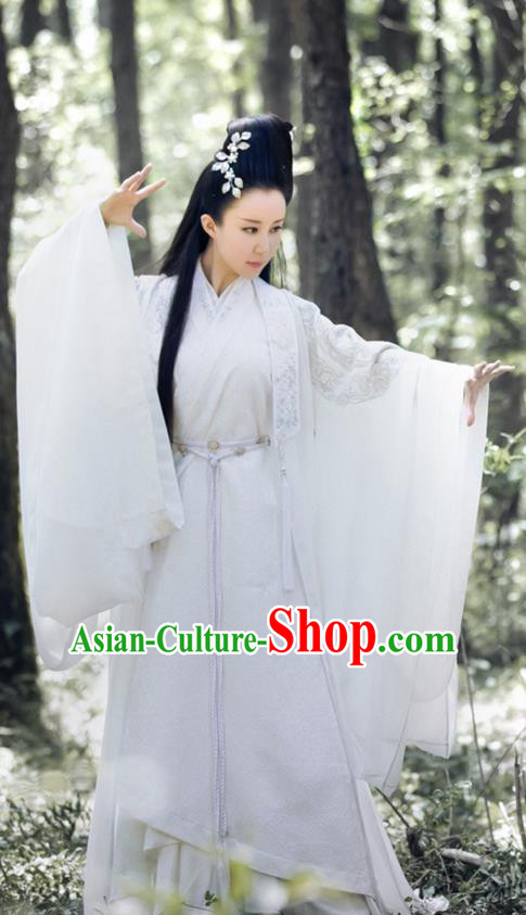 Traditional Ancient Chinese Elegant Swordsman Costume, Chinese Han Dynasty Princess Dress, Cosplay Chinese Television Drama Jade Dynasty Qing Yun Faction Peri Hanfu Trailing Embroidery Clothing for Women