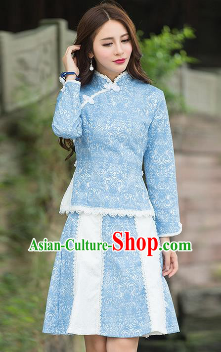 Traditional Chinese National Costume, Elegant Hanfu Slant Opening Blue Shirt and Skirt, China Tang Suit Republic of China Plated Buttons Blouse and Skirt Cheongsam Upper Outer Garment Qipao Shirts Clothing for Women