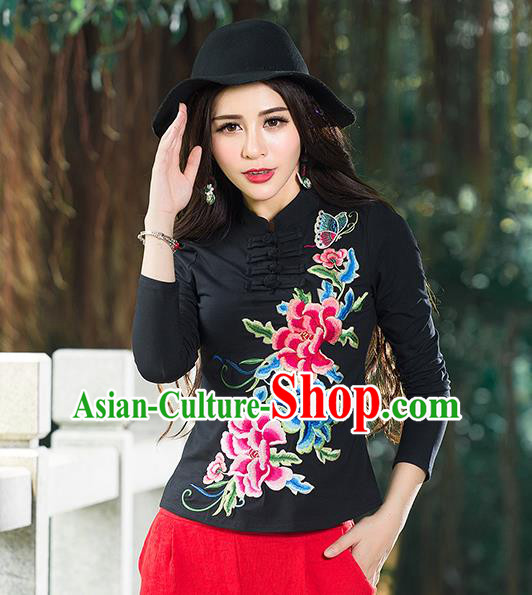 Traditional Chinese National Costume, Elegant Hanfu Embroidery Peony Flowers Stand Collar Black T-Shirt, China Tang Suit Republic of China Blouse Cheongsam Upper Outer Garment Qipao Shirts Clothing for Women