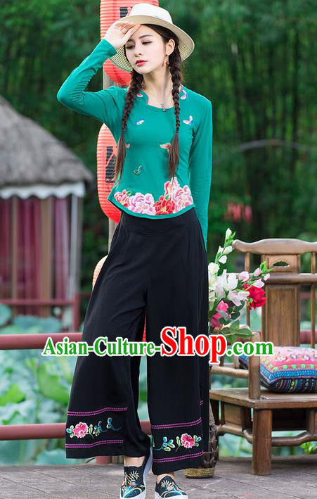 Traditional Chinese National Costume, Elegant Hanfu Embroidery Peony Flowers Green T-Shirt, China Tang Suit Republic of China Blouse Cheongsam Upper Outer Garment Qipao Shirts Clothing for Women