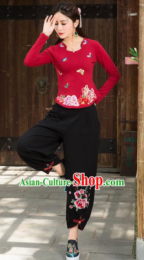 Traditional Chinese National Costume, Elegant Hanfu Embroidery Peony Flowers Red T-Shirt, China Tang Suit Republic of China Blouse Cheongsam Upper Outer Garment Qipao Shirts Clothing for Women