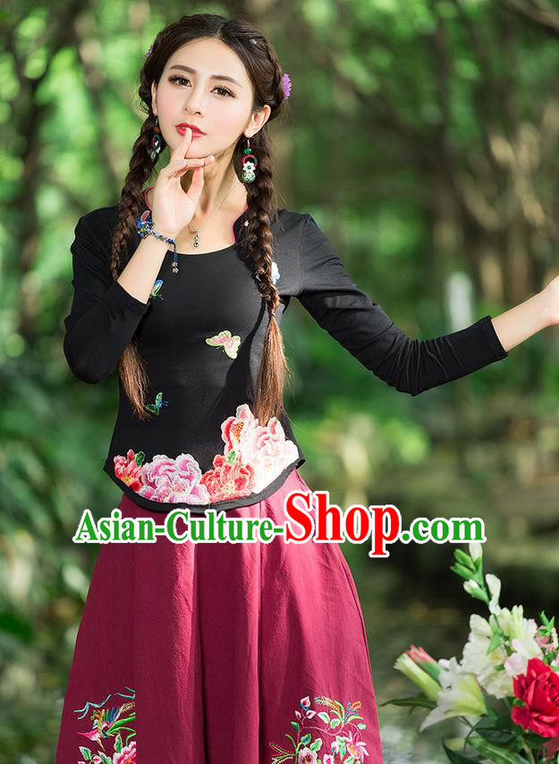 Traditional Chinese National Costume, Elegant Hanfu Embroidery Peony Flowers Black T-Shirt, China Tang Suit Republic of China Blouse Cheongsam Upper Outer Garment Qipao Shirts Clothing for Women