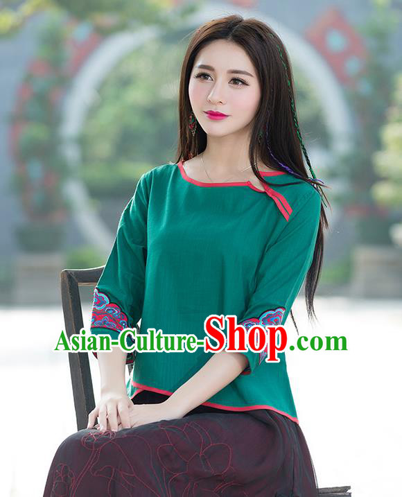 Traditional Chinese National Costume, Elegant Hanfu Embroidery Flowers Green T-Shirt, China Tang Suit Republic of China Blouse Cheongsam Upper Outer Garment Qipao Shirts Clothing for Women
