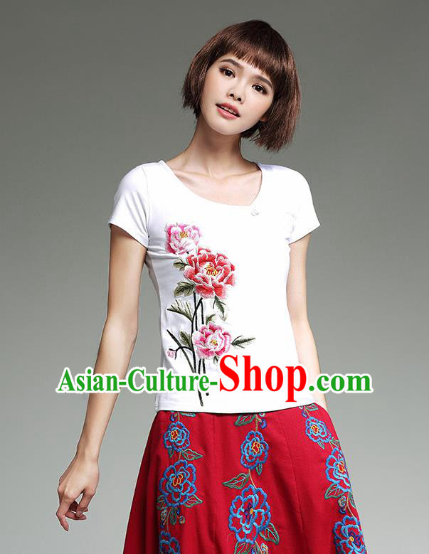Traditional Chinese National Costume, Elegant Hanfu Embroidery Peony Flowers Round Collar White T-Shirt, China Tang Suit Republic of China Blouse Cheongsam Upper Outer Garment Qipao Shirts Clothing for Women