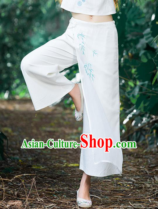 Traditional Chinese National Costume Loose Pants, Elegant Hanfu Hand Painting Bamboo Leaves Wide-leg White Trousers, China Ethnic Minorities Folk Dance Baggy Pants for Women