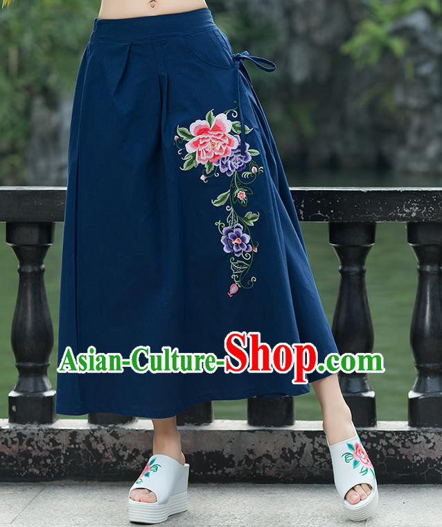 Traditional Ancient Chinese National Pleated Skirt Costume, Elegant Hanfu Embroidery Peony Flowers Long Navy Linen Skirt, China Tang Suit Bust Skirt for Women