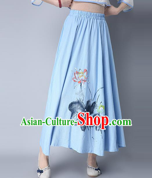 Traditional Ancient Chinese National Pleated Skirt Costume, Elegant Hanfu Hand Painting Lotus Flowers Long Blue Skirt, China Tang Suit Bust Skirt for Women