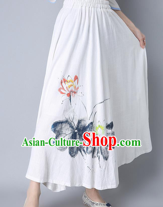 Traditional Ancient Chinese National Pleated Skirt Costume, Elegant Hanfu Hand Painting Lotus Flowers Long White Skirt, China Tang Suit Bust Skirt for Women