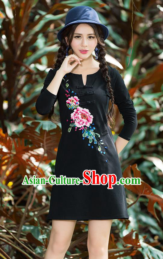 Traditional Ancient Chinese National Costume, Elegant Hanfu Mandarin Qipao Embroidery Flowers Black Dress, China Tang Suit Chirpaur Republic of China Plated Buttons Cheongsam Elegant Dress Clothing for Women