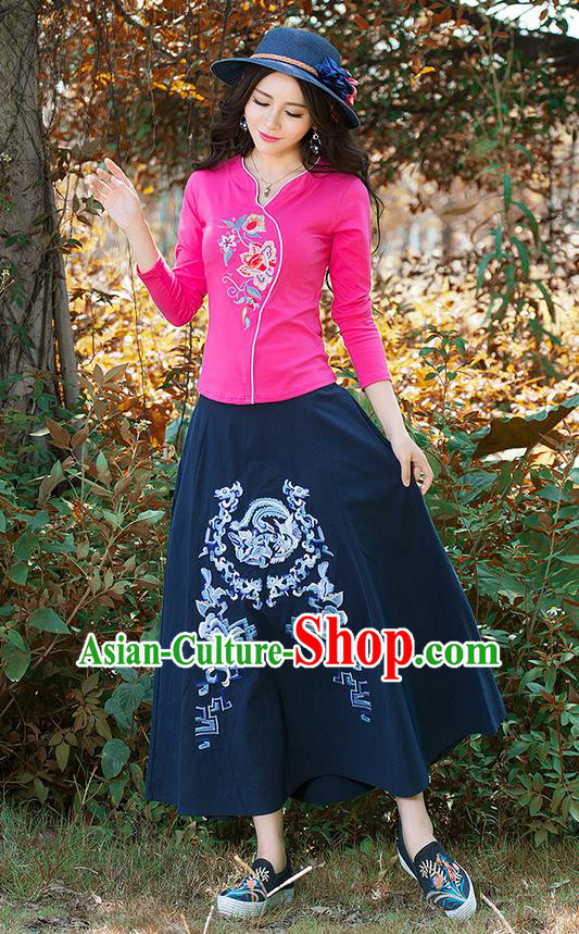 Traditional Chinese National Costume, Elegant Hanfu Embroidery Flowers Pink T-Shirt, China Tang Suit Republic of China Blouse Cheongsam Upper Outer Garment Shirts Clothing for Women