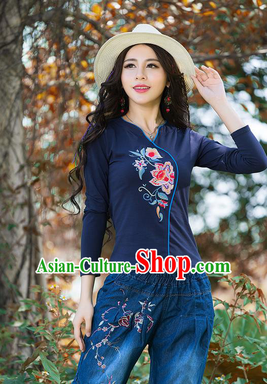 Traditional Chinese National Costume, Elegant Hanfu Embroidery Flowers Navy T-Shirt, China Tang Suit Republic of China Blouse Cheongsam Upper Outer Garment Shirts Clothing for Women