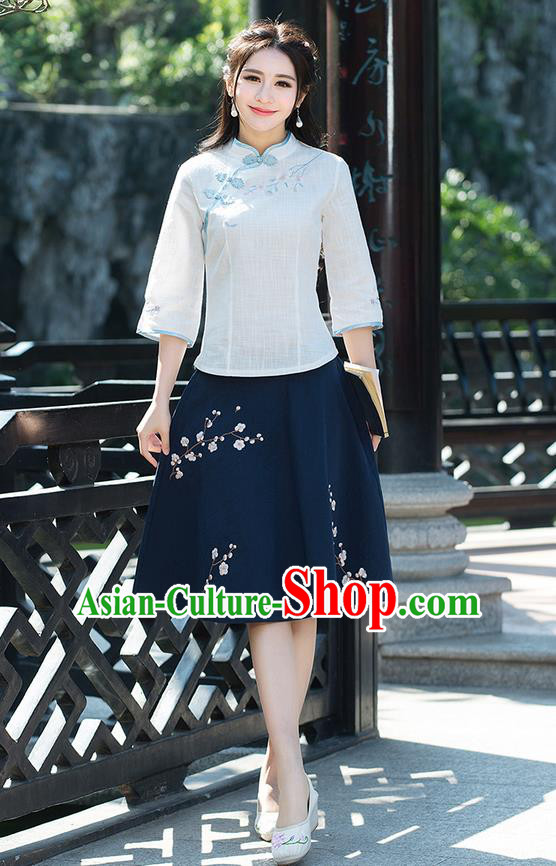 Traditional Ancient Chinese National Pleated Skirt Costume, Elegant Hanfu Embroidery Wintersweet Flowers Blue Skirt, China Tang Suit Bust Skirt for Women