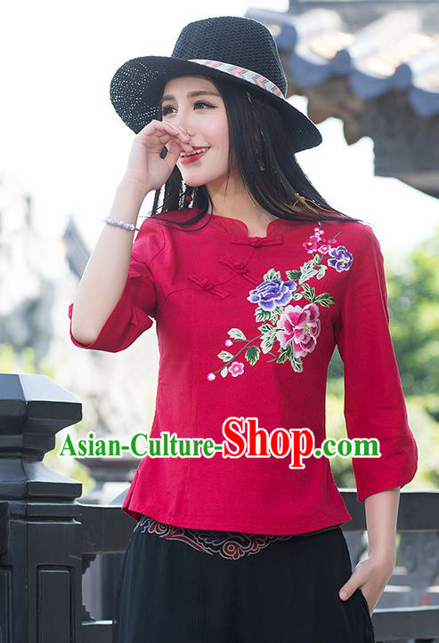 Traditional Chinese National Costume, Elegant Hanfu Embroidery Flowers Slant Opening Red Blouses, China Tang Suit Republic of China Plated Buttons Linen Blouse Cheongsam Upper Outer Garment Qipao Shirts Clothing for Women