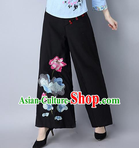 Traditional Chinese National Costume Loose Pants, Elegant Hanfu Embroidered Lotus Wide-leg Black Trousers, China Ethnic Minorities Folk Dance Baggy Pants for Women