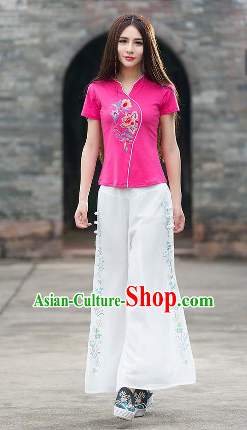Traditional Chinese National Costume Loose Pants, Elegant Hanfu Embroidered Wide-leg White Chiffon Trousers, China Ethnic Minorities Folk Dance Baggy Pants for Women